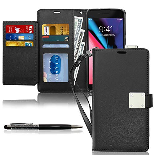 KULECase iPhone 7 Plus/ 8 Plus/ 6 Plus Wallet Case for Women Men, Premium PU Leather Cover with Kickstand, Card Holder Slots and Delicate Hand Strap, Flip Holster with Stylus Pen (Black)
