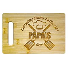 Papa grill themed engraved bamboo cutting boards make excellent birthday gifts for Papa, Christmas gifts for Papa, Father's day gifts for Papa, or grandparents day gifts. Display the engraved side and cut on your solid side. You get a beautiful piece...