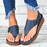 LLZZ Wedge Sandals for Women Open Toe Platform Flip Flop Sandals Casual Summer Herringbone Split-Toe Shoes - T-Shaped Perforated Sandals,Casual Breathable Casual Women's Sandals (37,Blue)