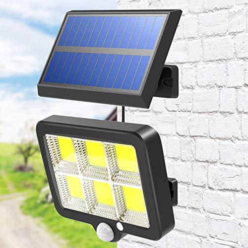T-SUN 150LED Applique Solare esterno con sensore di movimento e crepuscolare, luce fredda 6500K, luce di sicurezza con Separabile Pannello Solare, Impermeabile IP65 lampada da parete per cortile.
