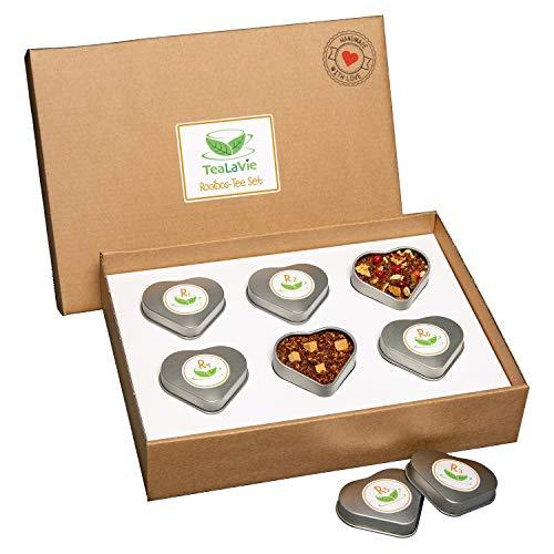 TEALAVIE - 6er Tee-Geschenke-Set - Rooibos Tee lose | edle Herz-Teedose für Teeliebhaber | perfekte Tee-Geschenkidee | 60g loser Rotbusch Tee Mischung Mix