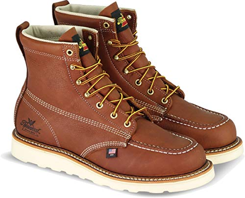 "Thorogood 804-4200 Men's American Heritage 6"" Moc Toe, MAXwear Wedge Safety Boot, Tobacco Oil-Tanned - 9 D(M) US"