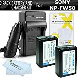2 Pack Battery and Charger Bundle Kit for Sony Alpha a6000, a6300, a6500, a5100, a5000, a3000 DSLR a7, A55, A33 DSLR Includes 2 Replacement Extended NP-FW50 Batteries + Ac/Dc Travel Charger + More