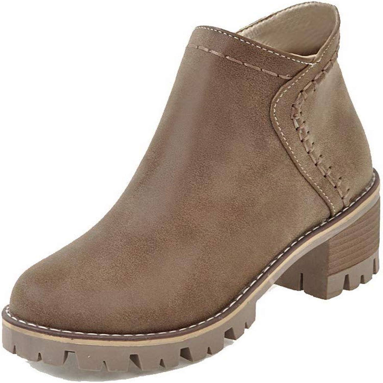 WeenFashion Women's Kitten-Heels Pu Low-Top Solid Zipper Boots, AMGXX115586