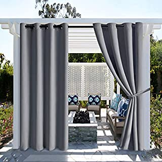 Hiasan Grey Outdoor Curtains for Patio Waterproof - Grommet Extra Long Thermal Insulated Blackout Curtains for Gazebo, Cab...
