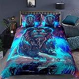 Feelyou 3D Lion Print Duvet Cover Sets King Size Animal Lion Bedding Set Starry Galaxy Comforter Cover Decorative Microfiber Polyester Quilt Cover Set with 2 Pillow Shams, Zipper, Gorgeous 3 Pcs, Soft