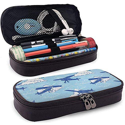 Aircraft Silhouettes Flying Leather Pencil Case with Zipper,Microfiber Pu Leather Pencil Holder College Office Pen Case Pouch Unisex