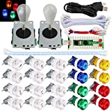 SJ@JX 2 Player Arcade Game Stick DIY Kit Buttons with Logo LED 8 Way Joystick USB Encoder Cable Controller for PC MAME...