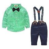 Yilaku Baby Jungen Babykleidung Langarm Hemd + Hose + Hosenträger + Fliege Krawatte Gentleman Taufe Hochzeit für Frühling und Sommer(Grün, 2-3 Jahre)
