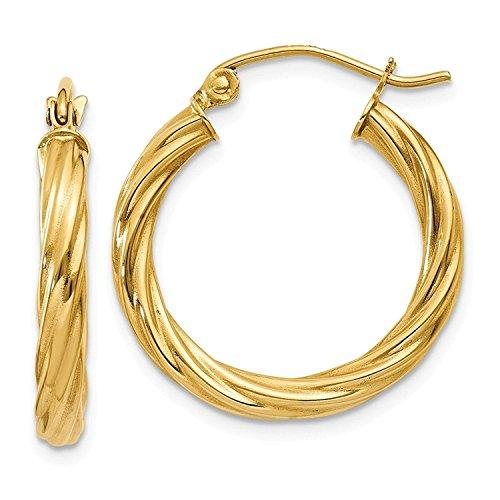 14 Karat / 585 Gold Gedrehte Hochglanz Ohrringe Creolen Gelbgold (4.5 x 23 Ø mm) - PRG