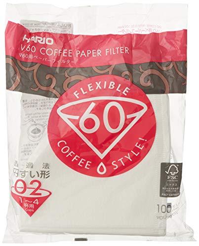 Hario VCF-01-100W Papierkaffeefilter, Weiß, Größe 02, 100 Stück