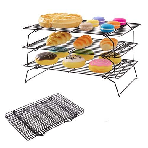 Somine Estante de refrigeración de 3 niveles para hornear antiadherente apilable para hornear bandejas de enfriamiento plegables para pan tortas, galletas, pasteles y pasteles – 40 x 25 x 22 cm