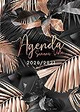 Agenda 2020 2021 Semana Vista: Agenda semanal 18 meses - Organiza tu día - Agenda semanal - Julio 2020 a Diciembre 2021 - Español - Hojas de palma tropical - Dorada y negra