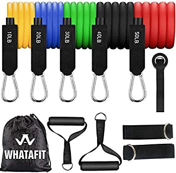 Whatafit Resistance Bands Set  11pcs  Exercise Bands with Door Anchor Handles Carry Bag Legs Ankle Straps for Resistance Training Physical Therapy Home Workouts