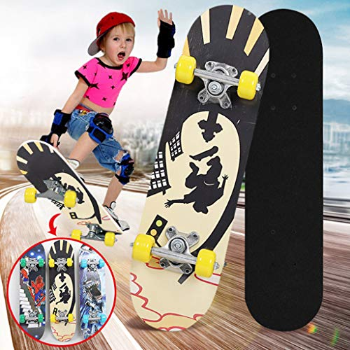 ZHOU2# Outdoor Skateboards, Complete Skateboards for Beginners, Wood Kick Concave Skate Board, Sport Skateboards for Boys Girls Kids (Red)