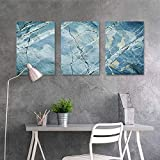 HOMEDD Canvas Pictures Sticker Murals,Marble Exquisite Granite Stone Architecture Floor Artistic Nature Faded Rock Picture,A for Your Relatives and Friends 3 Panels,16x24inchx3pcs Pale Blue G