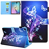 Galaxy Tab A 10.1 T510/T515/T517 Case 2019 Old Model, JZCreater PU Leather Folio Wallet Case, Auto Sleep/Wake Cover for Samsung Galaxy Tab A 10.1' SM-T510/T515 ( Not fit T500, Purple Butterfly