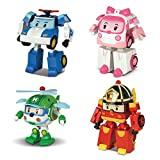 Robocar Poli 4 Pack Poli + Amber + Roy + Helly Transforming Robot, 4' Tramsformable Action Toy Figure