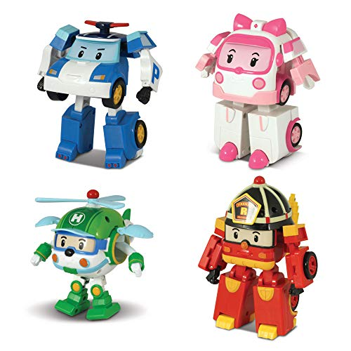 [4 Pack] Robocar Poli Poli + Amber + Roy + Helly Transforming Robot, 4' Tramsformable Action Toy Figure