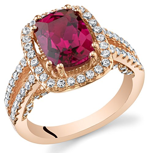 Created Ruby Rose Goldtone Halo Ring Sterling Silver 2.75 Carats Size 6