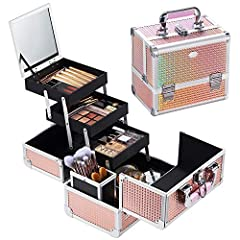 Hapilife プロ仕様 メイクボックス 化粧品収納 コスメ収納 ジュエリー ネイル用品 メイク道具 コスメボックス 鏡付き 収納ボックス 鍵付き