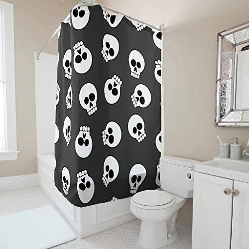 EUNNT Duschvorhang mit Totenkopf-Motiv, Stoff, bunt, Polyester, weiß, 150x200cm
