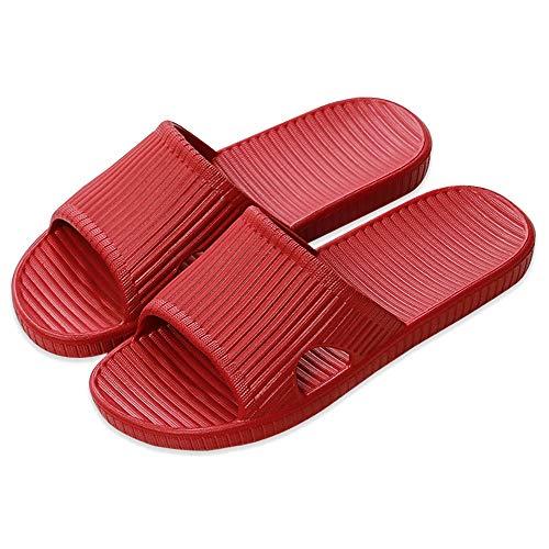 APIKA Zapatillas Antideslizantes para Mujeres Y Hombres Uso En Interiores Uso Al Aire Libre Baño Sandalia Suela De Espuma Suave Zapatos De Piscina Casa Hogar Slide(Rojo,38/39 EU)