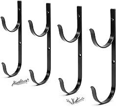 Aquatix Pro Pool Pole Hanger Premium 4pc Black Aluminium Holder Set, Ideal Hooks for Telescopic Poles, Skimmers, Leaf Rakes, Nets, Brushes, Vacuum Hose, Garden Tools and Swimming Pool Accessories