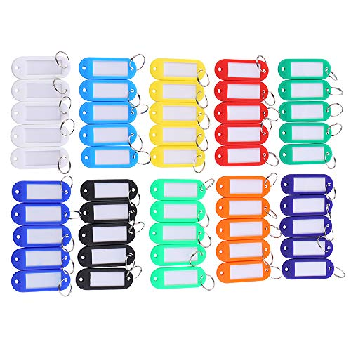 50 Pcs Assorted Color Key ID Label Tags Split Ring Keyring Keychain