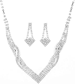 Party Necklace Set Jewelry Set For Weddings Silver Plated Crystal Necklace & Earrings Set - Valentine's Gift