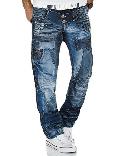 Kosmo Lupo Herren Jeans Denim Hose K&M Designer Jeans Clubwear Japan Style Verwaschen (Blau M4, 40W / 34L)