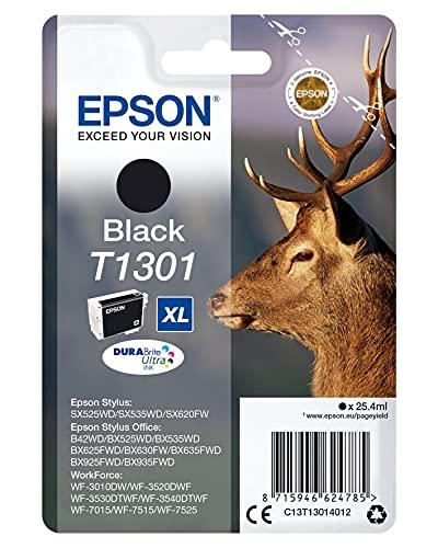 Epson Original T1301 Tinte Hirsch (SX420W BX320FW SX620FW BX/SX525WD BX625FWD BX305FW B42WD BX925FWD BX635FWD BX535WD SX435/440W BX630FW SX235W WF7015 7515 7525 3010 3520 3540) schwarz