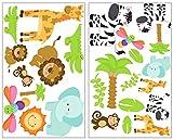 Samunshi® 25x Wandtattoo Safari Tiere Set Wandbilder Kinderzimmer Deko Junge Wandtattoo Kinderzimmer Mädchen Wandsticker Kinderzimmer 2X 16x26cm