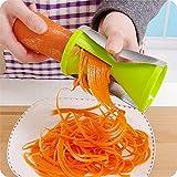 Rallador de verduras espiralizador de verduras en espiral, cortador de trituradoras para zanahoria, pepino, calabacín, utensilios de cocina (color verde)