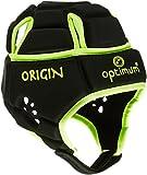 OPTIMUM Origin - Casco de Rugby, Color Negro/Amarillo Fluorescente, Talla L