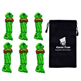 Geertop 4mm Reflective Tent Guide Rope Guy Line Cord Aluminum Adjuster - 13' 6 Pack Green