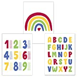 Kinderzimmer Poster Set 3 Stück, ABC Poster, 1x1 Poster