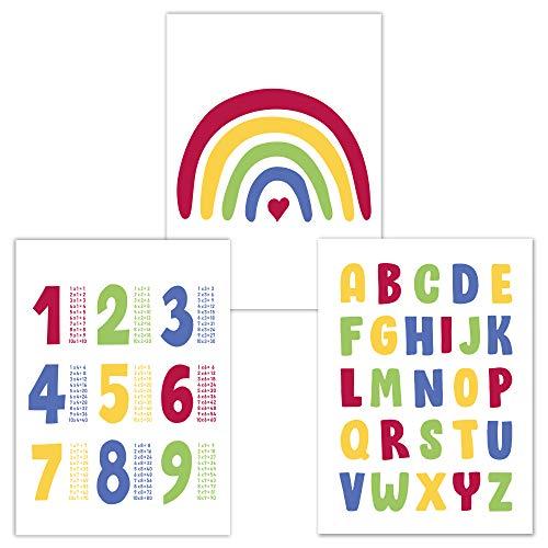 Kinderzimmer Poster Set 3 Stück, ABC Poster, 1x1 Poster und Regenbogen Poster DINA 4, Babyzimmer Deko, Junge Mädchen (Farbset3)