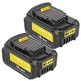 Topbatt 2X 18V 5.0Ah Ricambio per Dewalt Batteria DCB184 DCB200 DCB182 DCB180 DCB181 DCB182 DCB201 con indicatore LED Utensili elettrici