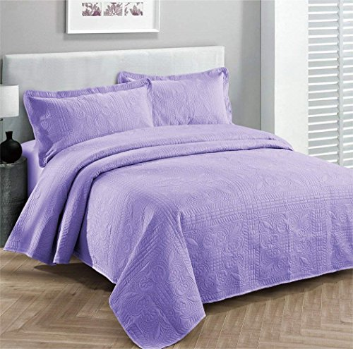 Elegant Home Beautiful Over Sized Solid Color Embossed Floral Striped 3 Piece Coverlet Bedspread (Queen/Full, Lavender)