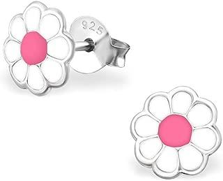 Bianco Con brillantini Argento Sterling 925 Laimons Kids Orecchini a pressione per bambini gioielli per bambini Fiore margherita Rosa