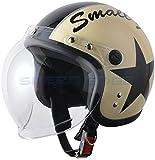 【レディース キッズ】スモールジェットヘルメット バブルシールド付 アイボリー/ブラック 54cm~57cm未満
