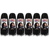 Toyotress Cuban Twist 16 inch 6 Packs for Havana Twists or Faux Locs Afro Kinky Marley Crochet Braids Synthetic Braiding Hair Extensions(16 Inch,1B))
