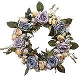 LinTimes Türkranz Wandkranz, handgefertigte Kunstblumendeko für Zuhause, Parties, Türen, Hochzeiten - Blau