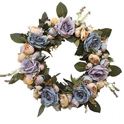 LinTimes Ghirlanda di Peonia Fiore Artificiale, Blu Corona di Fiori di Seta Artificiale Decorazioni per la Casa/Festa/Matrimonio