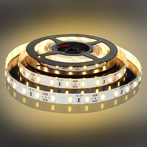 BOGAO 5M Luces de tira LED 300 Unidades SMD 5630 12 V Luz de tira de bajo voltaje No impermeable Cinta LED IP20 Iluminación de cinta blanca cálida para gabinetes de cocina domésticos y más