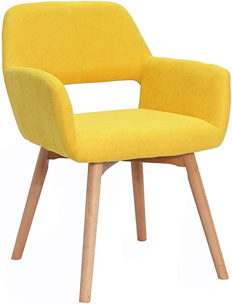 Modern Design Fabric Accent Chair Dining Chair W Solid Wood Leg Living Room Bright Yellow Set Of 1