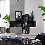 MSA BLOX Aparador I 140 cm de ancho flotante armarios estantes alto brillo PUSH-CLICK puertas negro