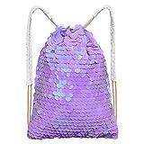 MHJY Mermaid Sequin Bag, Magic Drawstring Backpack Glitter Sports Dance Drawstring Bag Shiny Travel Backpack