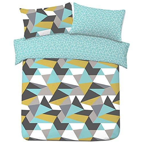 Dreamscene Geometric Shapes KING Size Duvet Cover with Pillowcase Reversible Bedding Set, Blue Yellow Ochre Grey White